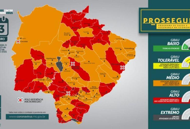 Primeiro Prosseguir do ano aponta 2 municípios em grau extremo e 34 em alto risco