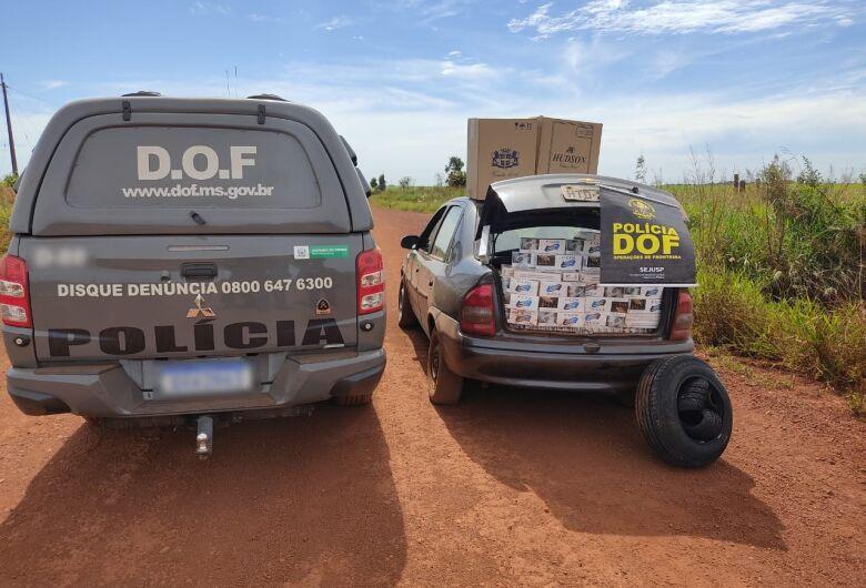 Veículo com cigarros e pneus contrabandeados do PY é apreendido pelo DOF