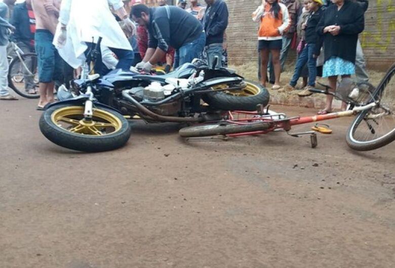 Em Itaporã, acidente entre moto e bicicleta deixa uma pessoa morta