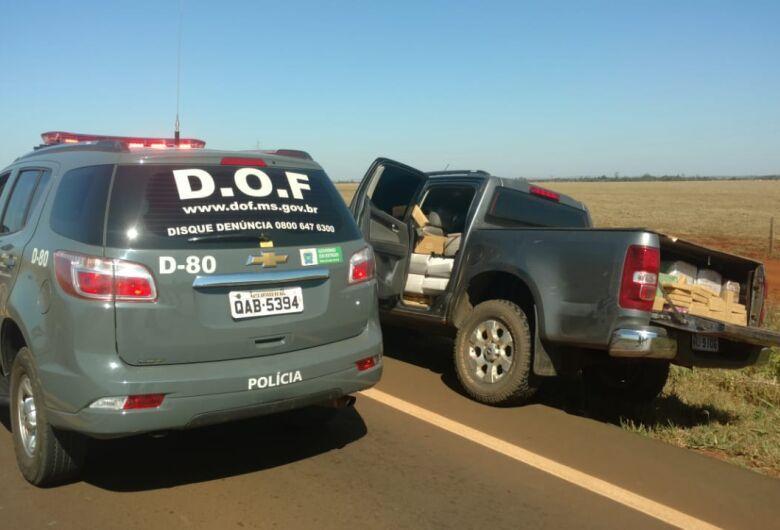DOF apreende uma tonelada de maconha e recupera camioneta roubada