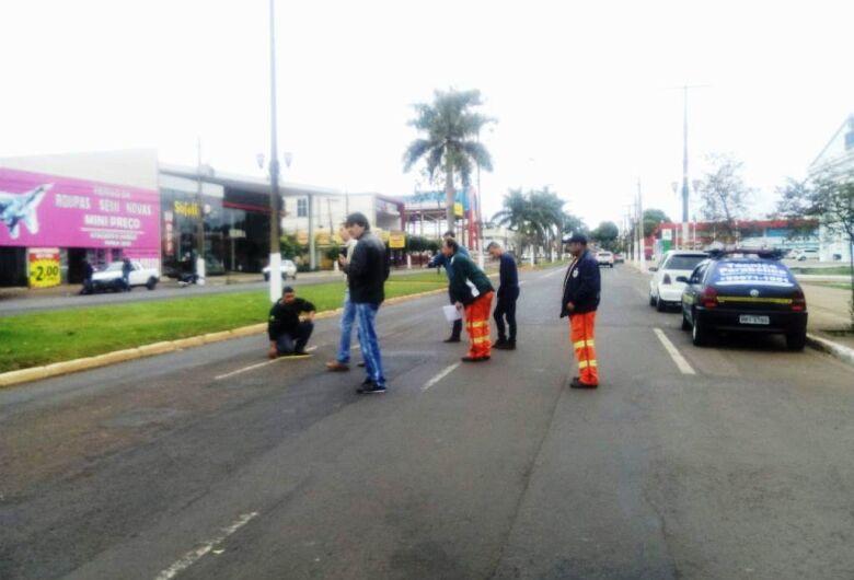 Agetran acompanha processo de sinalização das vias recuperadas no centro de Dourados