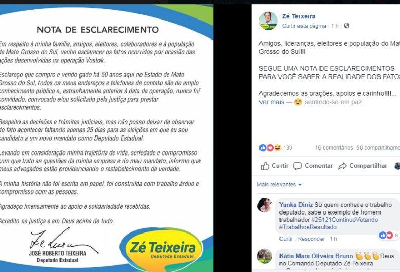 Em nota, deputado Zé Teixeira alega estranhar operação a 25 dias das eleições em que concorre