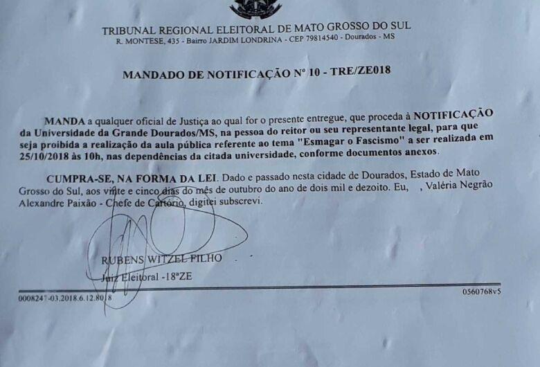 Juiz eleitoral em Dourados proíbe evento na UFGD e DCE taxa ato como sendo censura