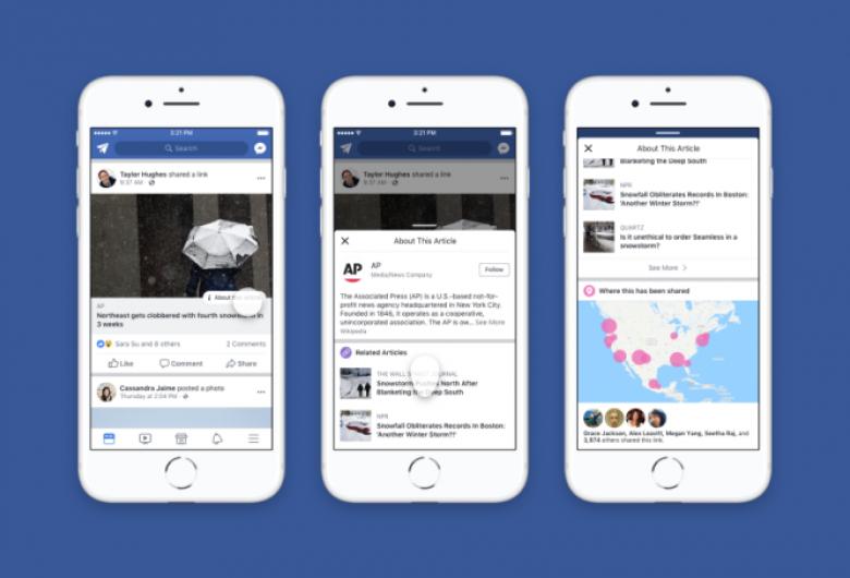 """Facebook lança """"botão de contexto"""" no Brasil para combater notícias falsas"""