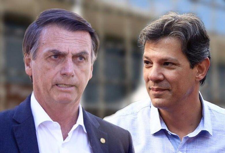 Segundo o Datafolha, Bolsonaro tem 58% e, Haddad, 42% dos votos válidos