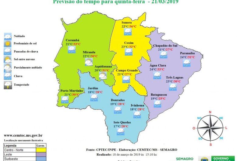 Quinta-feira será de pancadas de chuva na maior parte de Mato Grosso do Sul