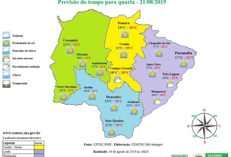 Quarta-feira será mais um dia quente e sem chuva em Mato Grosso do Sul