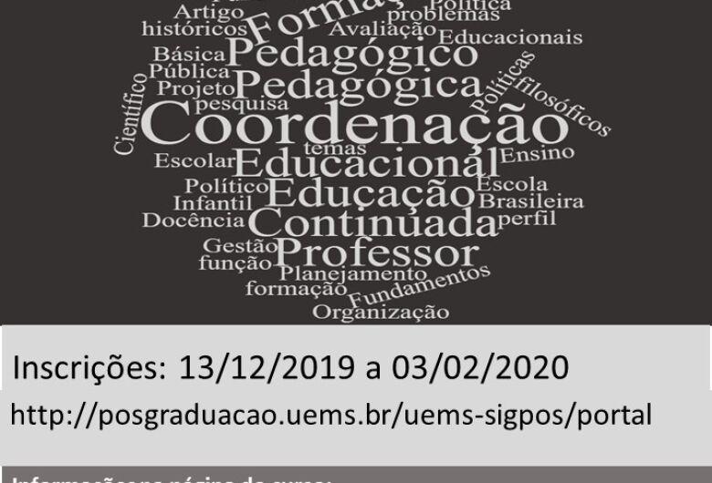 UEMS abre inscrições para Pós-graduação em Coordenação Pedagógica em Dourados