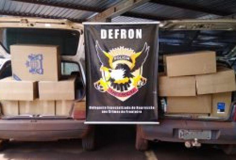 Foram apreendidos na manhã de hoje dois veículos carregados com cigarros contrabandeados do Paraguai
