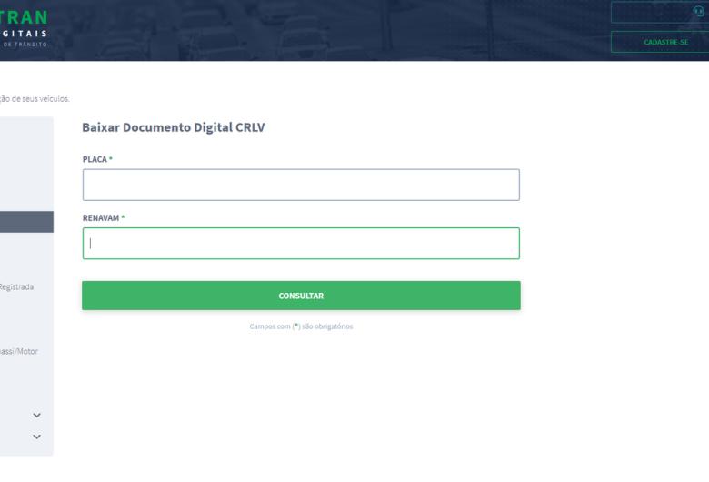 Licenciamento agora pode ser emitido pelo Portal de Serviços – Meu Detran