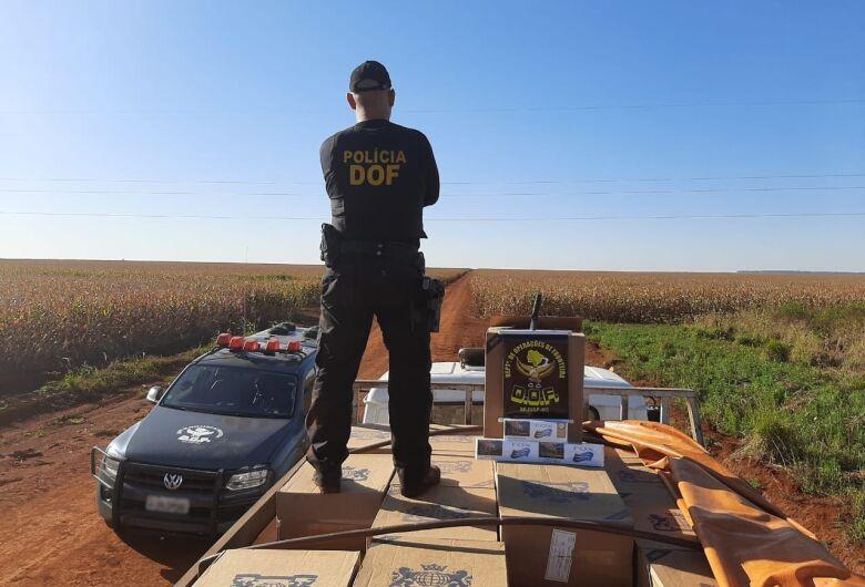 Caminhão carregado com 10 mil pacotes de cigarros contrabandeados é apreendido em Dourados