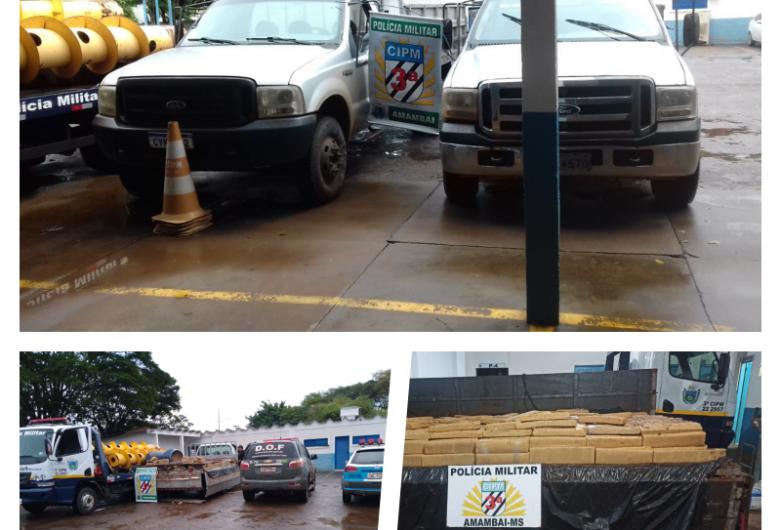 Mais de duas toneladas de maconha são apreendidas pela PM em Amambai