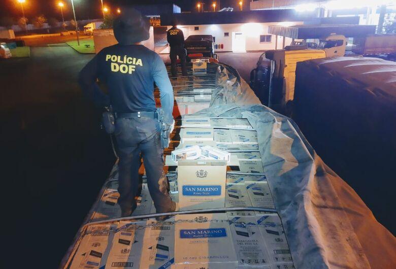 Carreta carregada com 50 mil pacotes de cigarros é apreendida pelo DOF