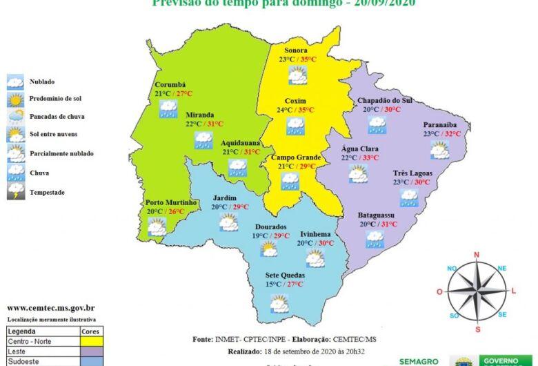 Último domingo de inverno terá pancadas de chuva em Mato Grosso do Sul