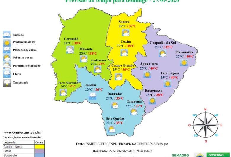 Pancadas de chuva em Dourados até segunda-feira