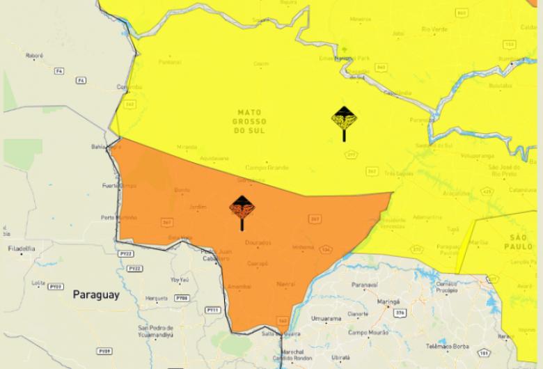 Defesa Civil emite alerta de chuvas intensas e rajadas de ventos de até 100 km/h