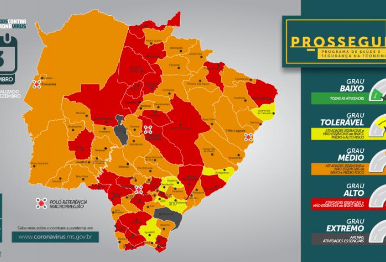 No MS 22 municípios estão na bandeira vermelha e dois na cinza