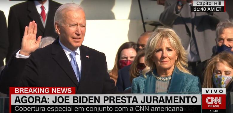 Joe Biden toma posse como 46º presidente dos Estados Unidos - Crédito: imagem: reprodução CNN Brasil