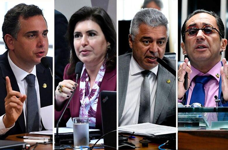 Até o momento, Rodrigo Pacheco (DEM-MG), Simone Tebet (MDB-MS), Major Olimpio (PSL-SP) e Jorge Kajuru (Cidadania-GO) disputam a presidência da Casa; eleições acontecem no início de fevereiro - Crédito: Geraldo Magela/Agência Senado