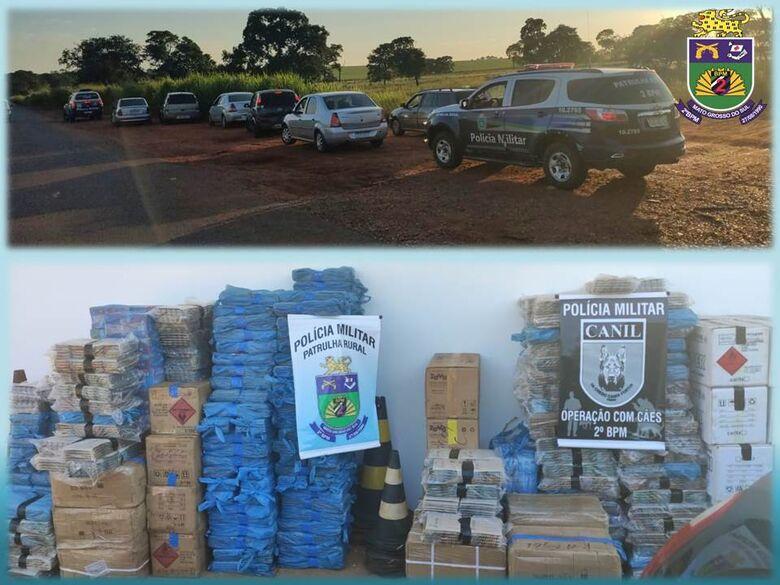 Polícia Militar intercepta em Brasilândia, comboio de veículos com mercadorias contrabandeadas -
