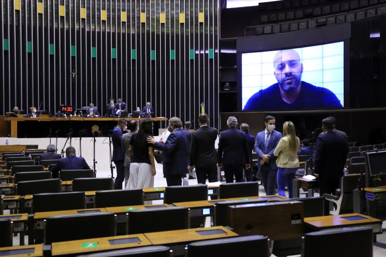 Daniel Silveira participou da sessão por meio de videoconferência -