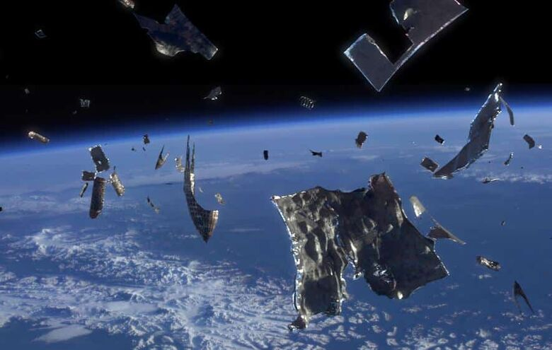 Quantidade de lixo na órbita terrestre pode ter efeitos parecidos com o da poluição luminosa no solo. - Crédito: SpaceX