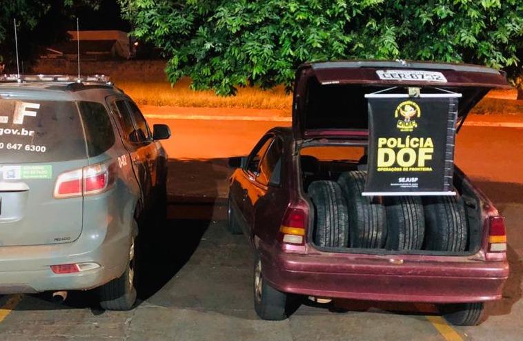 Veículo com pneus e cigarros do Paraguai é apreendido pelo DOF durante a Operação Hórus - Crédito: Divulgação
