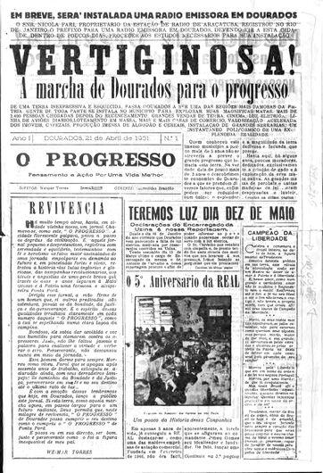 """Na década de 50, a chegada de O PROGRESSO e da luz gerada pela """"Usina Velha"""" - Crédito: Arquivo - O PROGRESSO"""