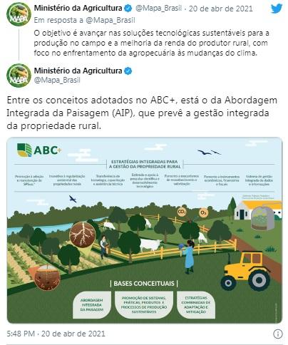 Governo lança plano de promoção da agricultura de baixo carbono - Crédito: Reprodução/twitter