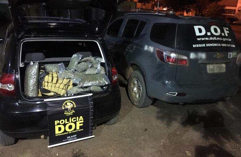 Mulheres em veículo com skank e maconha foram presas pelo DOF durante a Operação Hórus - Crédito: DOF/Sejusp