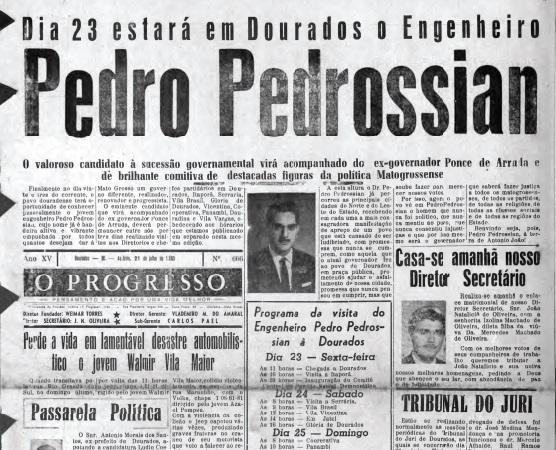 """Na década de 60, a chegada do """"chão preto"""" - Crédito: Arquivo - O PROGRESSO"""