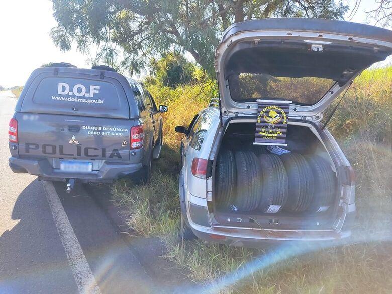 Carro carregado com mais de 90 pneus adquiridos no PY é apreendido pelo DOF -