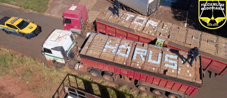 A carga foi encontrada em caminhos estacionados às margens da MS-357 - Crédito: Assessoria PM/MS