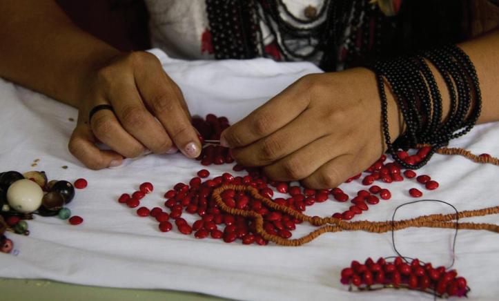 Arte indígena com sementes nativas - Crédito: Divulgação