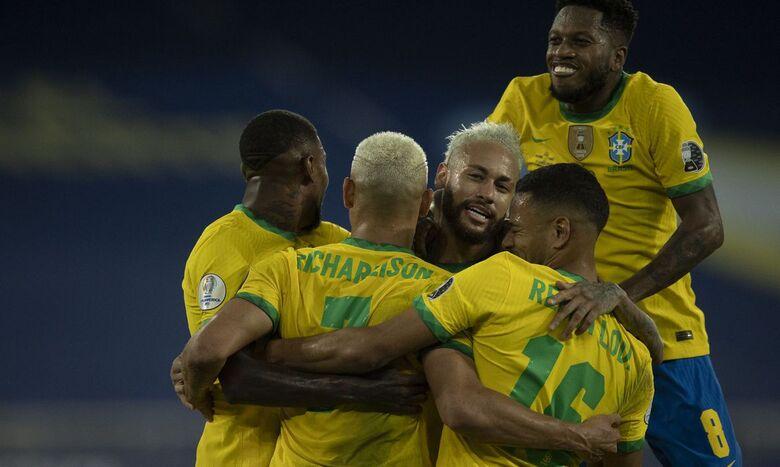 Brasil goleia seleção peruana e segue 100% na Copa América - Crédito: Lucas Figueiredo/CBF