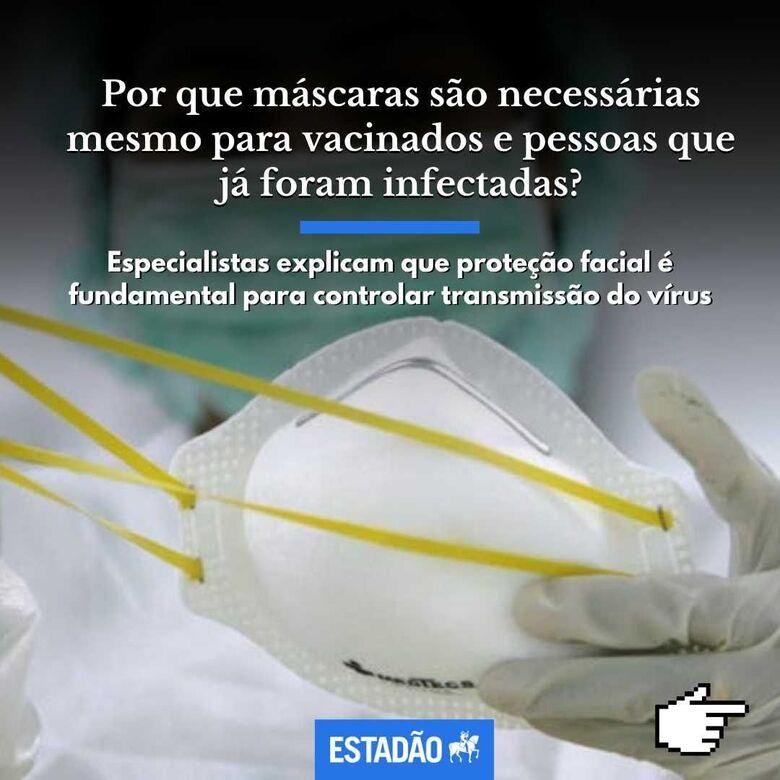 Por que máscaras são necessárias mesmo para vacinados e pessoas que já foram infectadas? - Crédito: @estadao