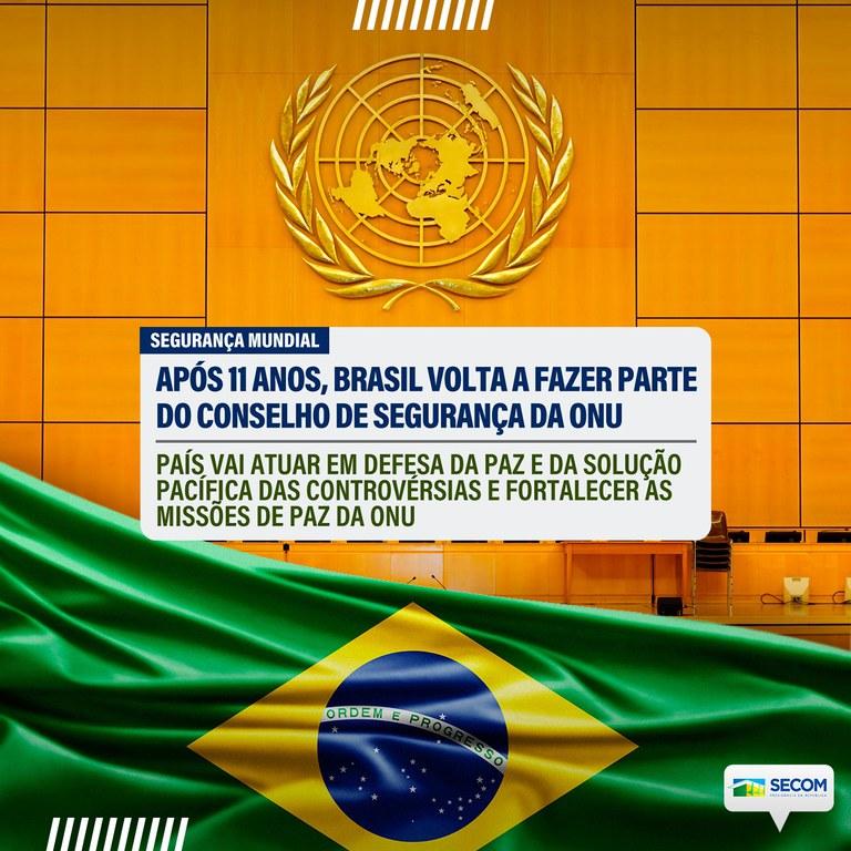 Brasil volta a ocupar assento no Conselho de Segurança da ONU -