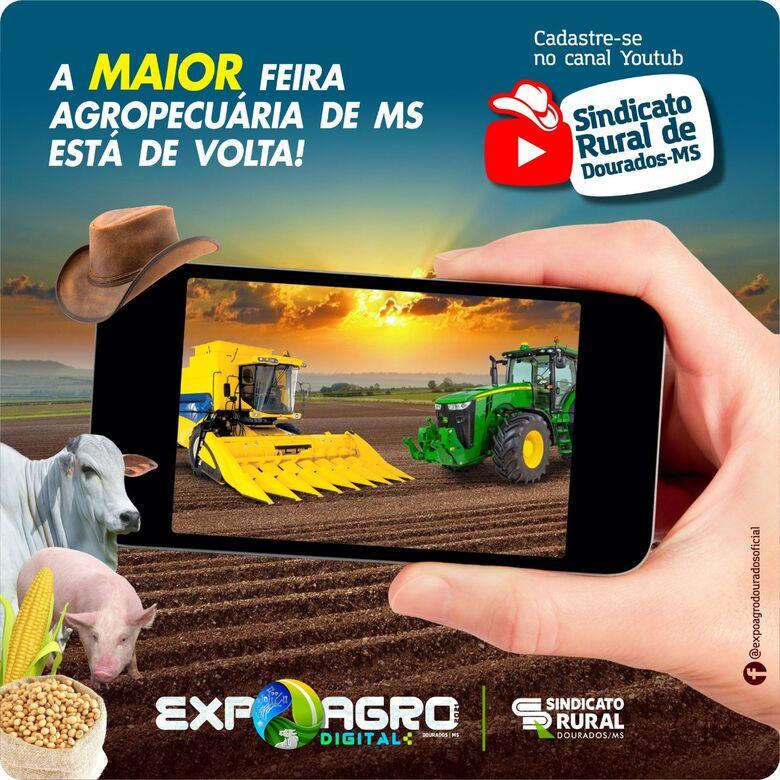 Sindicato Rural realiza Expoagro Digital de 14 a 17 de setembro em Dourados - Crédito: Divulgação