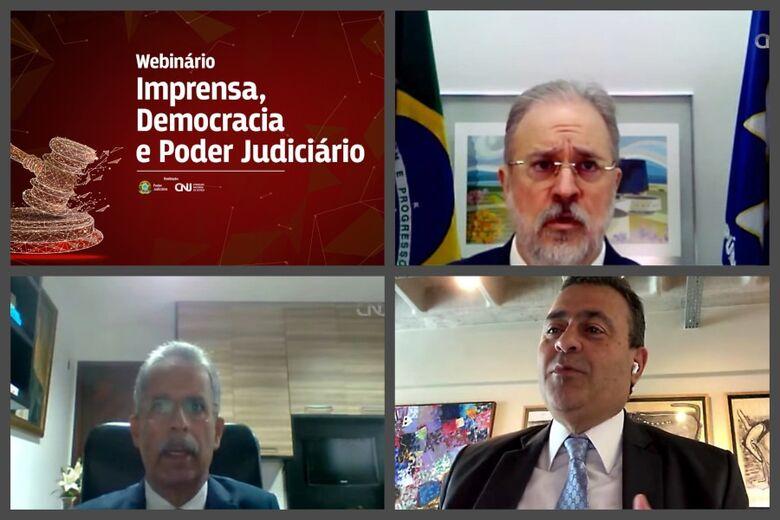 Juristas discutem balizas para liberdades de expressão e de imprensa - Crédito: Luiz Silveira/CNJ. Arte: CNJ