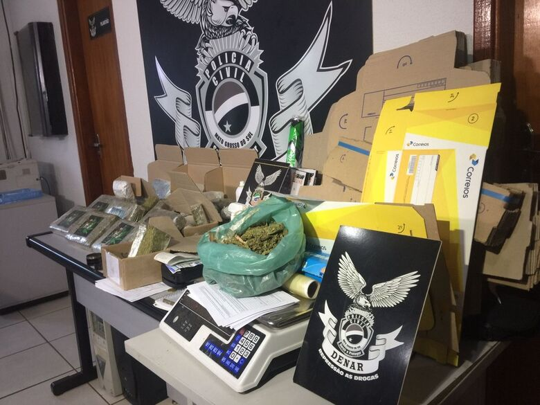 Preso ao mandar maconha para outros estados, traficante da Capital diz que postava droga quatro vezes por semana - Crédito: Denar/Divulgação