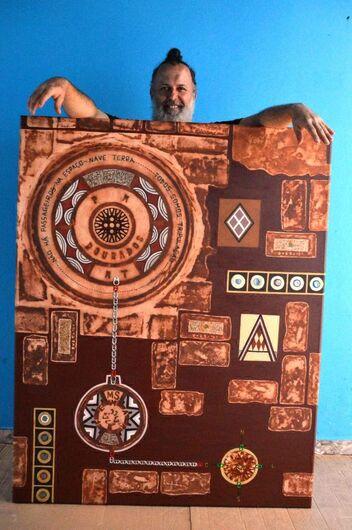 Artista plástico douradense Cello Lima que no conjunto da sua obra, sempre empregou símbolos e elementos característicos da nossa cultura - Crédito: Fábio Germano