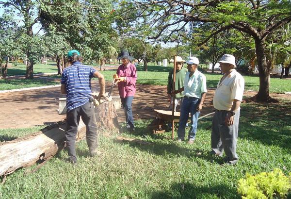Lurdinha e equipe durante os trabalhos de revitalização. Foto: Walter Ramos -
