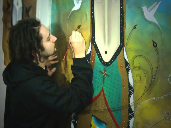 Grafiteiro Binho Martins durante minicurso na Uniarte. Foto:divulgação  -