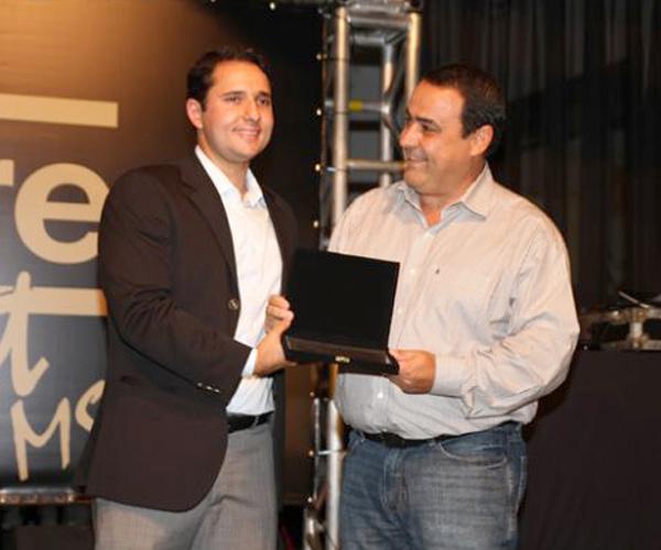 O presidente da Nelore MS, Guilherme Bumlai e o vice, Lineu -