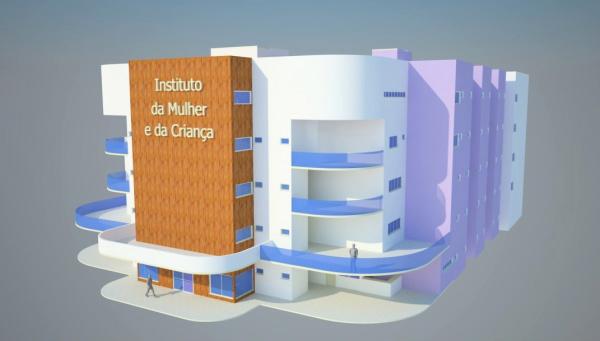 Perspectiva do prédio de quatro pisos que vai abrigar o IMC, anexo ao HU  - Crédito: Foto: Reprodução
