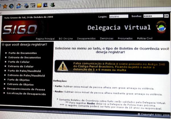 Delegacia Virtual oferece vários tipos de serviços para a população do Estado  - Crédito: Foto: Reprodução site