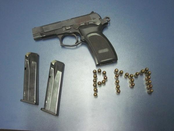 Pistola 9 milímetros com os carregadores e a munição Foto: Assessoria PM -