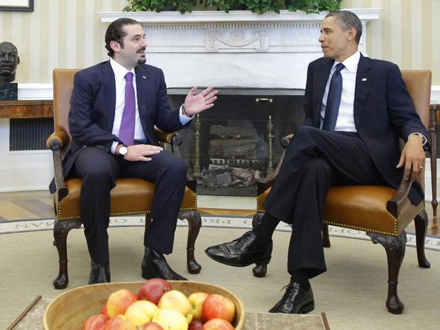 O premiê do Líbano, Saad al-Hariri, é recebido pelo presidente dos EUA, Barack Obama, no Salão Oval da Casa Branca, nesta quarta-feira - Crédito: Foto: AP