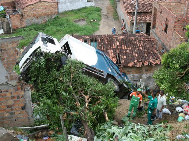 Caminhão de lixo que invadiu casa em Feira de Santana - Crédito: Foto: Reginaldo Pereira/Agência A Tarde/AE
