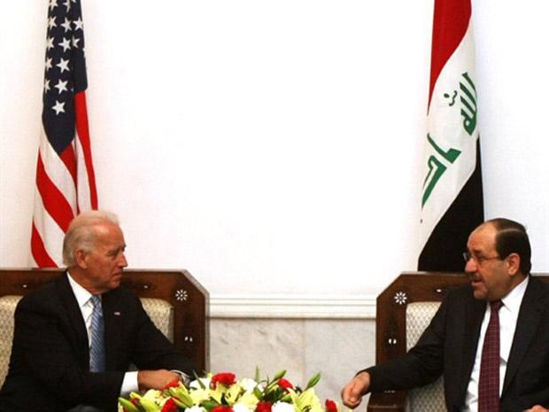 Vice-presidente americano, em conversa com primeiro-ministro do Iraque Nuri al-Maliki. - Crédito: Foto: France Presse